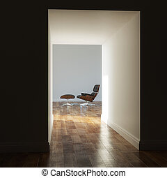 Empty room in a modern house shadow
