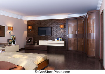 Luxury Classic Bedroom Interior Design With Wooden Material