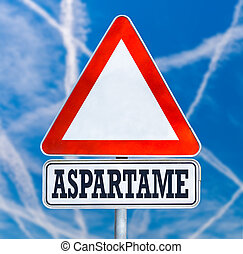 Aspartame traffic warning sign - Conceptual image of a...