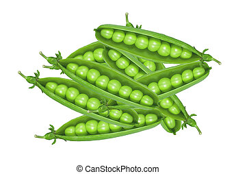 Green peas isolated on white