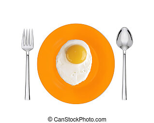 Scrambled eggs with on orange plate with spoon and fork...