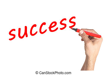 Hand writing word Success on transparent board
