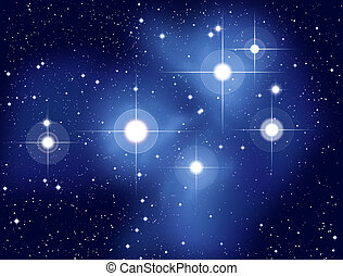 Plejades - Illustration of the Pleiades, also called Seven...