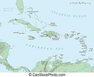 Caribbean - Antilles - Political map of the Caribbean -...