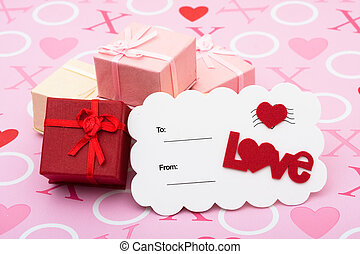 Happy Valentines Day - A stack of pretty presents with love...