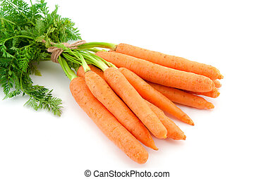 Bunch of fresh baby carrots on white background - Bunch of...
