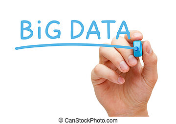 Big Data Blue Marker - Hand writing Big Data with blue...