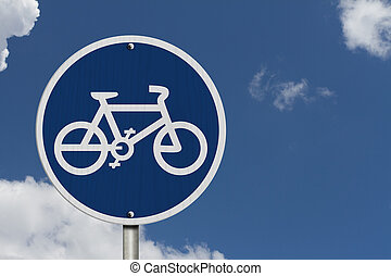 Bike Route Sign, An blue road sign with bike icon with blue...