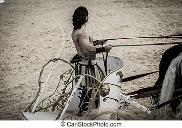 Warrior, Roman chariot in a fight of gladiators, bloody...