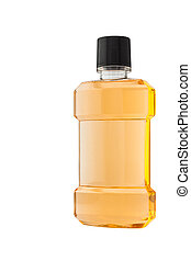 Plastic bottle of mint orange mouthwash isolated on white...