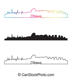Ottawa skyline linear style with rainbow in editable vector...