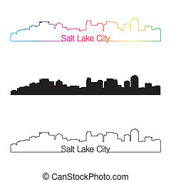 Salt Lake City skyline linear style with rainbow in editable...