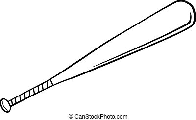 Black and White Baseball Bat Illustration Isolated on white