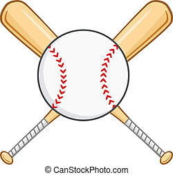 Crossed Baseball Bats And Ball Illustration Isolated on...