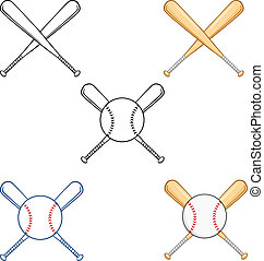 Crossed Baseball Bats Collection S - Cartoon Character...