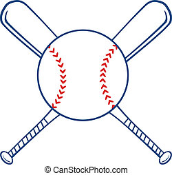 Two Crossed Baseball Bats And Ball Illustration Isolated on...