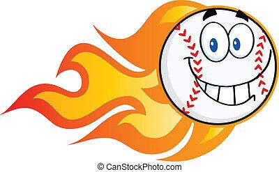 Smiling Flaming Baseball Ball