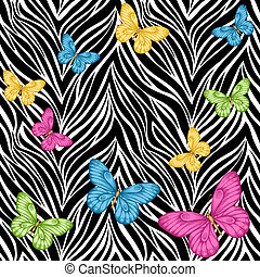 seamless background. butterflies on animal zebra abstract...