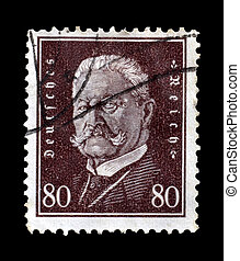 Hindenburg stamp 1928 - Postage stamp printed by Germany in...