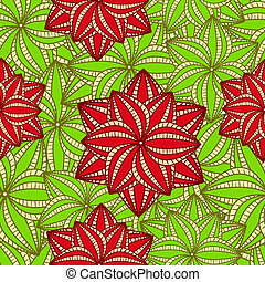 Red flowers on Green Palm Leave