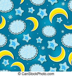 Blue Night Sky Seamless Pattern with Star, Cloud and Crescents