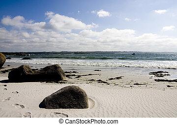 beach - rocks on a beach in brittany