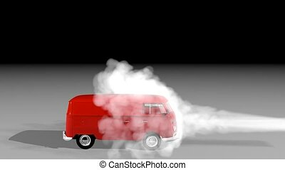 white smoke is driving frontally on VOLKSWAGEN bus