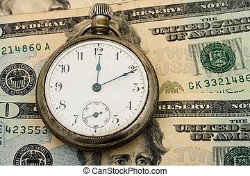 Retirement - A pocket watch sitting on a twenty dollar bill...