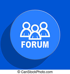 forum blue web flat icon - blue web pushbutton