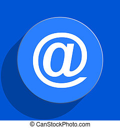 email blue web flat icon - blue web pushbutton