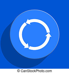 refresh blue web flat icon - blue web pushbutton