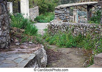 backstreet in old stone village