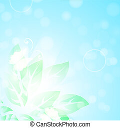 blue background with green leaves and butterflies
