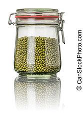 Mung beans in a jar