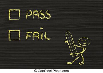 multiple choice test, pass or fail?
