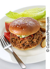 pulled pork sandwich, american cuisine