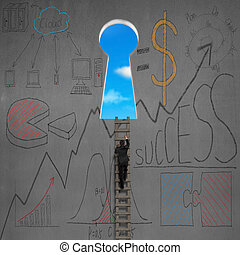 Climbing to key shape door with business doodles on wall -...