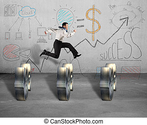 Jumping over money symbol with business doodles on wall -...