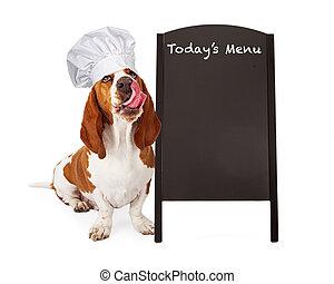 Dog Chef With Menu Chalkboard - A cute Basset Hound dog...