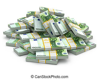 Heap of packs of euro Lots of cash money 3d