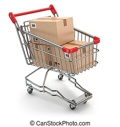 Shopping cart with boxes on white isolated background 3d