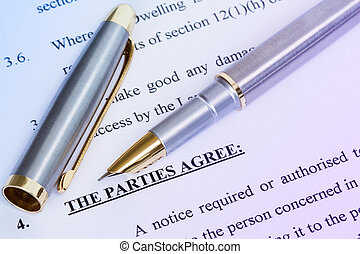 Agreement and metal pen - Metal pen with agreement between...