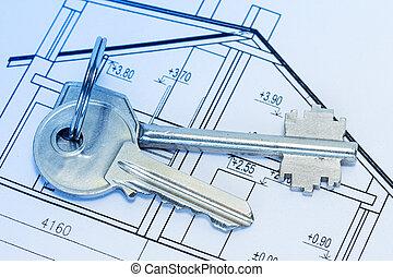 Keys on house blueprints
