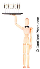 wooden Dummy waiter with champagne on tray