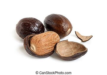 Nutmeg on white background