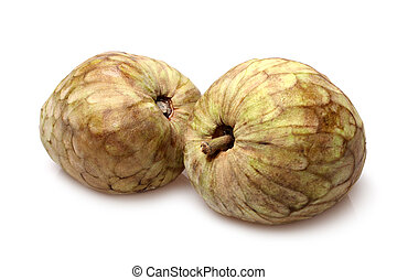 Cherimoya fruit Annona cherimola on white background