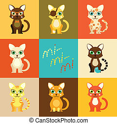 Set of icons with cartoon cats