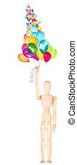 wooden Dummy holding flying balloons isolated - wooden Dummy...