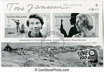 FINLAND - CIRCA 2014: A stamp printed in Finland shows Tove...