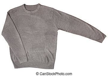 Grey sweater isolated on white background